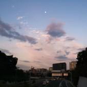 高速道路上の残月